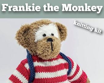 Frankie the Monkey Knitting Kit - Make Your Very Own Monkey - Easy To Knit Pattern
