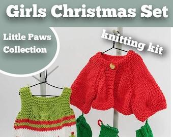 Knitting Kit Girls Christmas Set. Teddy Bear Christmas knitting kit. Easy to knit kit. Easy Knit Pattern. Hand knitting. Bear knitting kit