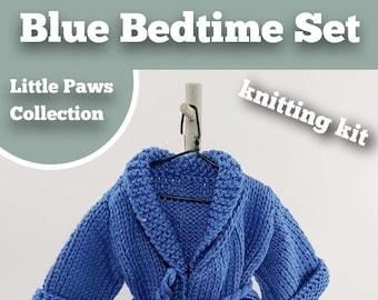 Knitting Kit Blue Bedtime Set. Teddy Bear Bedtime knitting kit. Easy to knit kit. Easy Knit Pattern. Hand knitting. Bear knitting kit