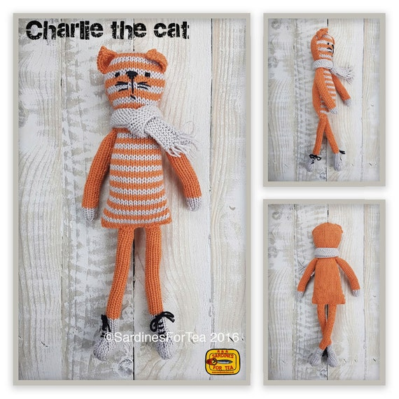 Knitted toy knitting pattern for Charlie the cat and scarf | Etsy