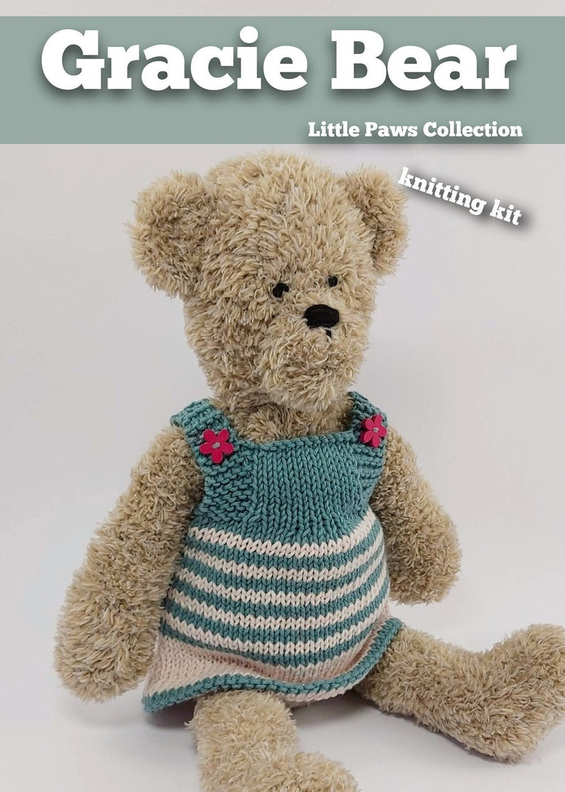 Knitting Kit Gracie Bear. Teddy Bear knitting kit. Easy image 1
