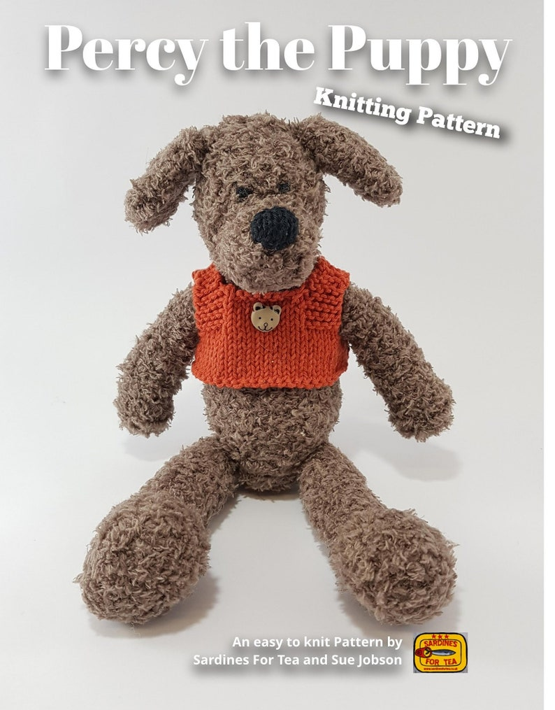 Knitted toy knitting pattern for Percy the Puppy PDF download image 0