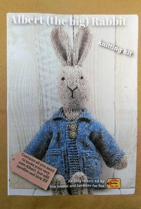 Albert The Big Rabbit Knitting Kit Blue Coat Make Your Etsy
