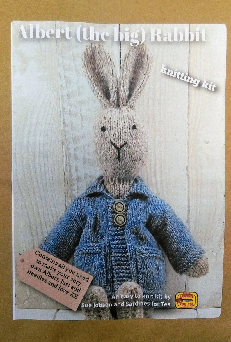 Albert the big Rabbit Knitting Kit blue coat  Make Your image 0