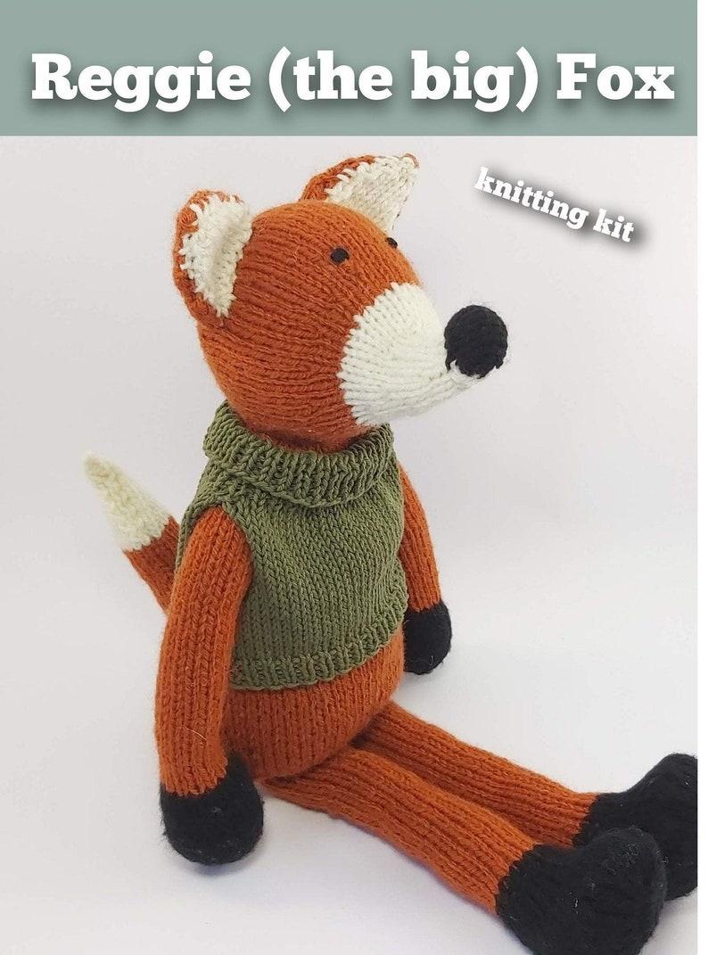 Knitting Kit Reggie the big Fox. Animal knitting kit. Easy image 0