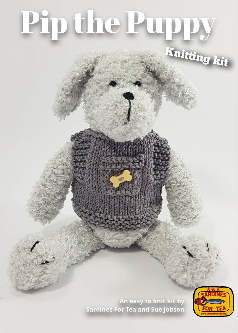 Toy knitting kit for Pip the puppy dog and his vest image 0