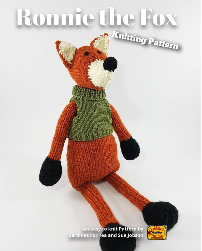 Knitted toy knitting pattern for Ronnie the Fox PDF download image 0