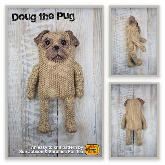 Knitted toy knitting pattern for Doug the Pug dog PDF download | Etsy
