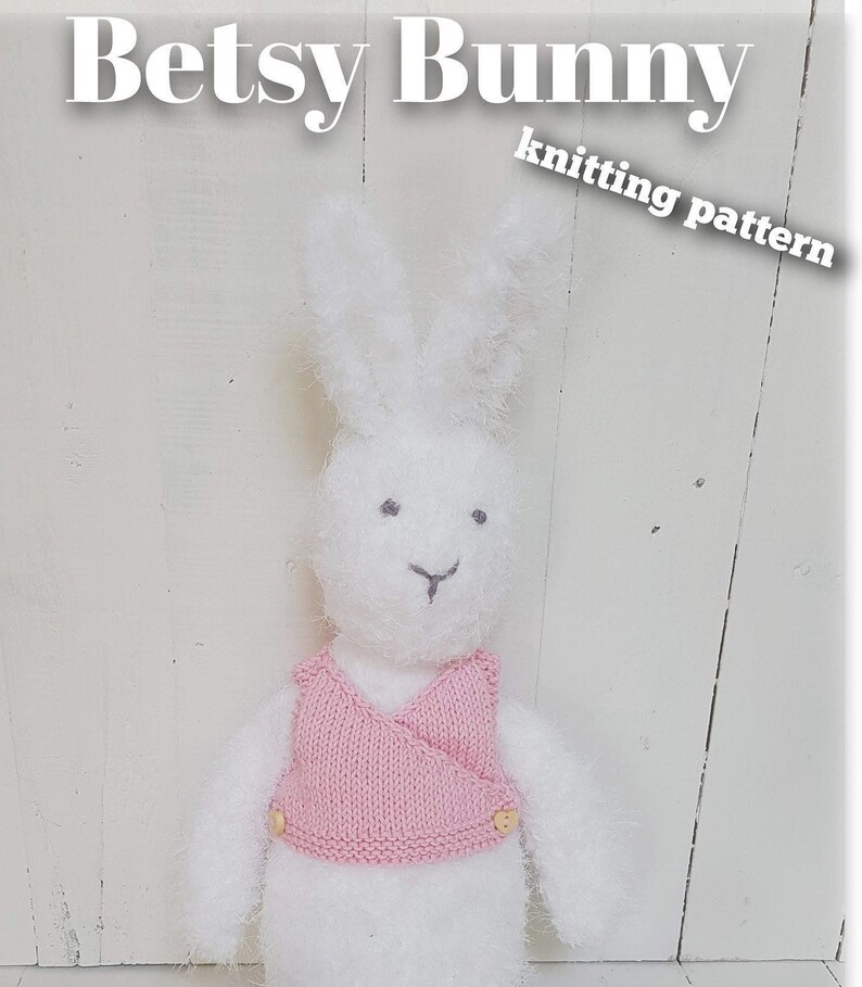 Knitted toy knitting pattern for Betsy Bunny PDF download image 0