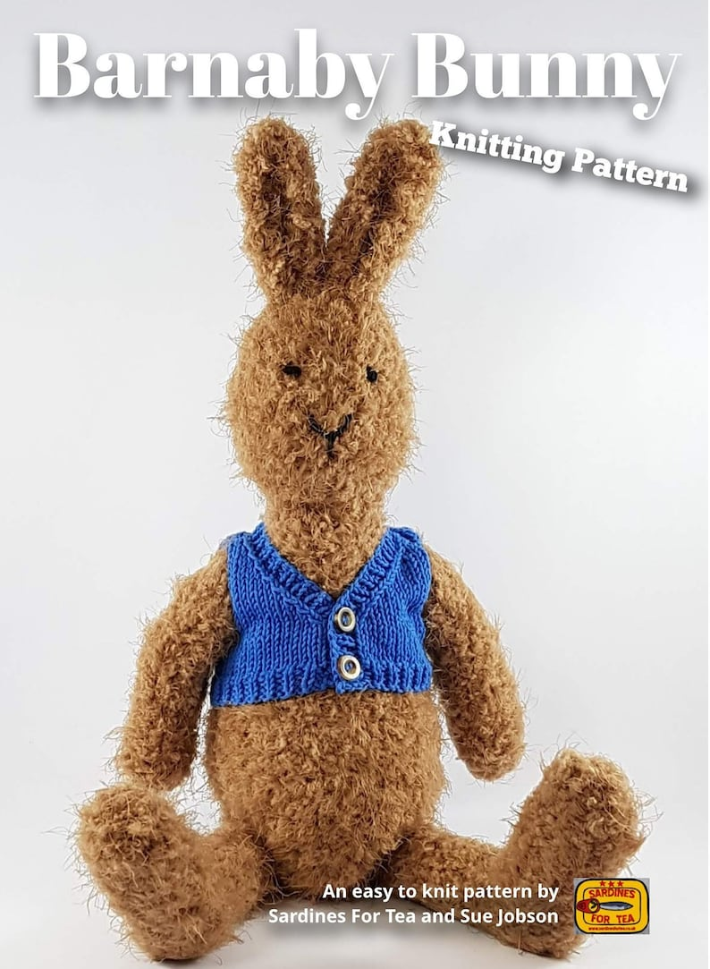 Knitted toy knitting pattern for Barnaby Bunny PDF download image 0