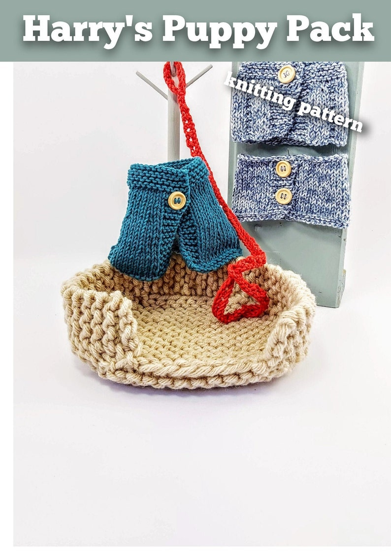 Knitted toy knitting pattern for Harry's Puppy Pack PDF image 0