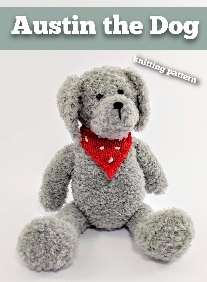 Knitted toy knitting pattern for Austin the Dog PDF download image 0