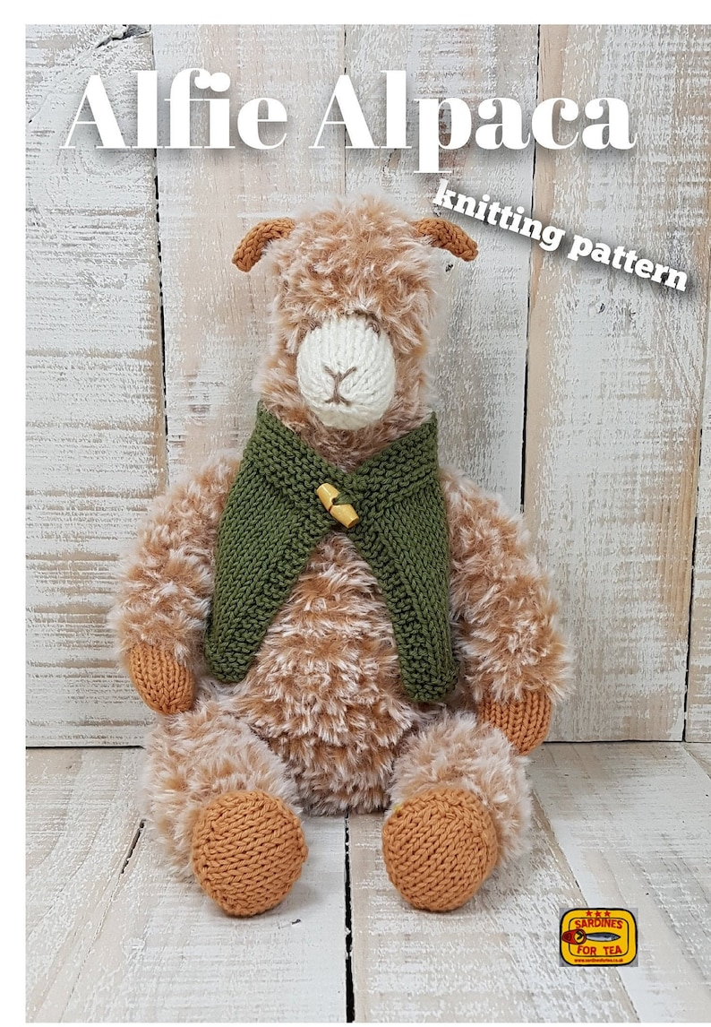 Knitted toy knitting pattern for Alfie Alpaca PDF download image 0