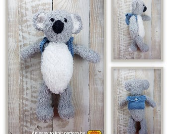 Knitted toy knitting pattern for Buddy the Koala, PDF download