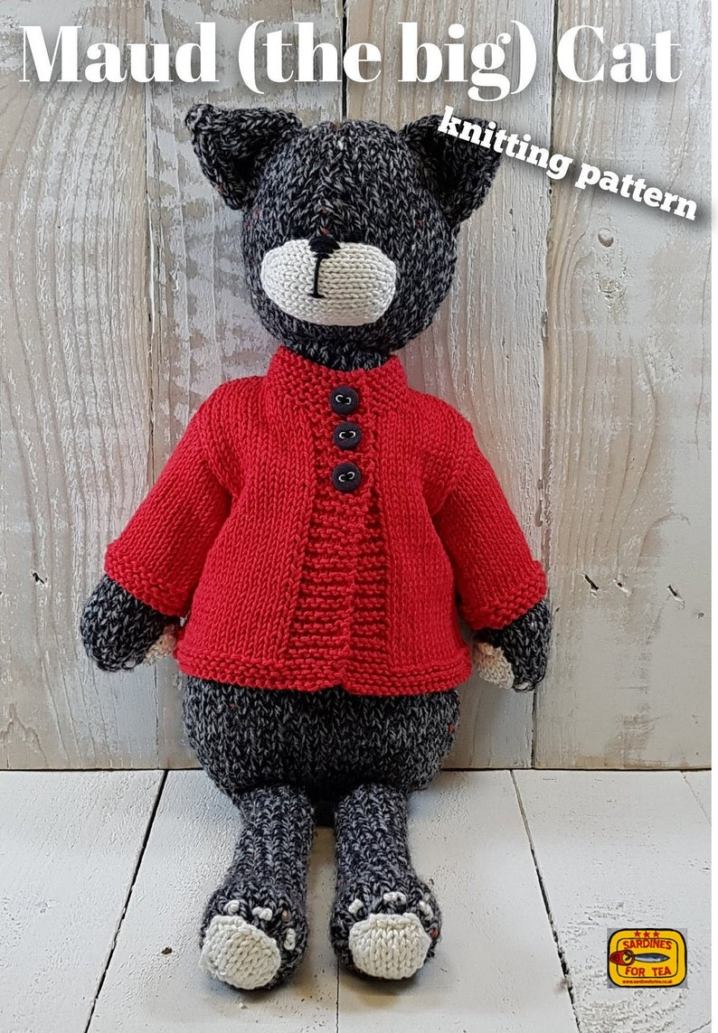 Knitted toy knitting pattern for Maud the big Cat PDF image 0