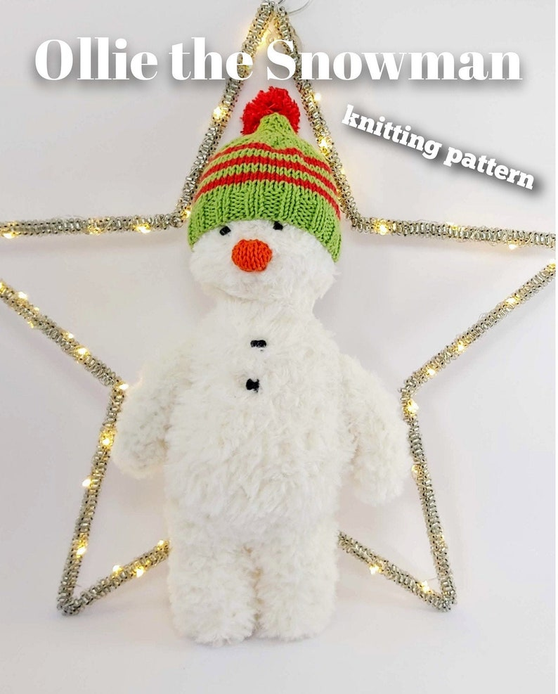 Knitted toy knitting pattern for Ollie the Snowman PDF image 0
