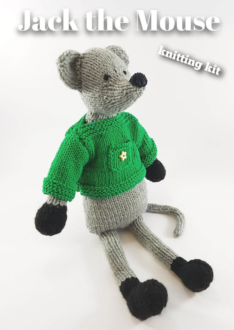 Knitting kit to make your very own Jack the Mouse  easy to image 0