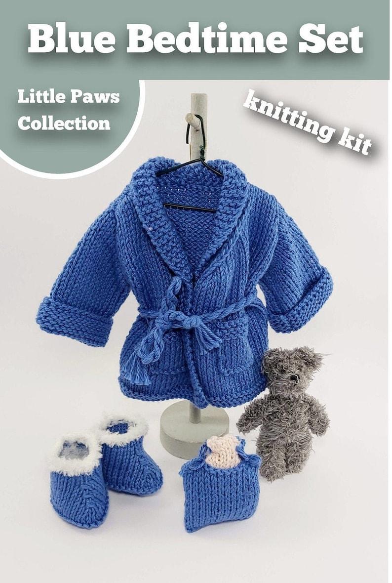 Knitting Kit Blue Bedtime Set. Teddy Bear Bedtime knitting image 1