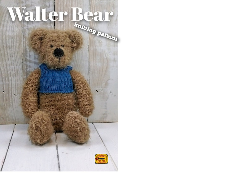 Knitted toy knitting pattern for Walter Bear PDF download image 0