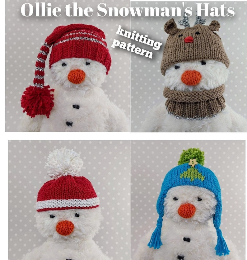 Knitted toy knitting pattern for Ollie the Snowman's Hats image 0