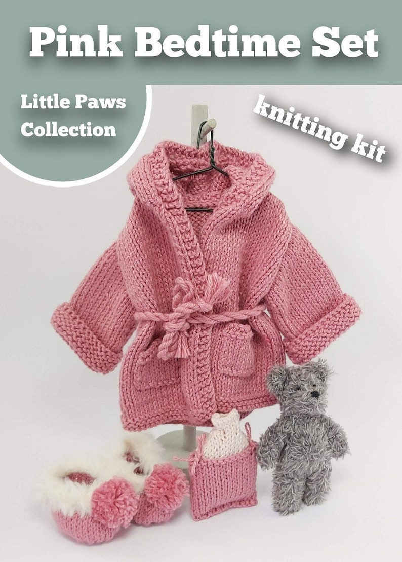 Knitting Kit Bedtime Set. Teddy Bear Bedtime knitting kit. image 0