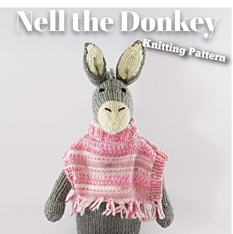 Knitted toy knitting pattern for Nell the Donkey PDF download image 0