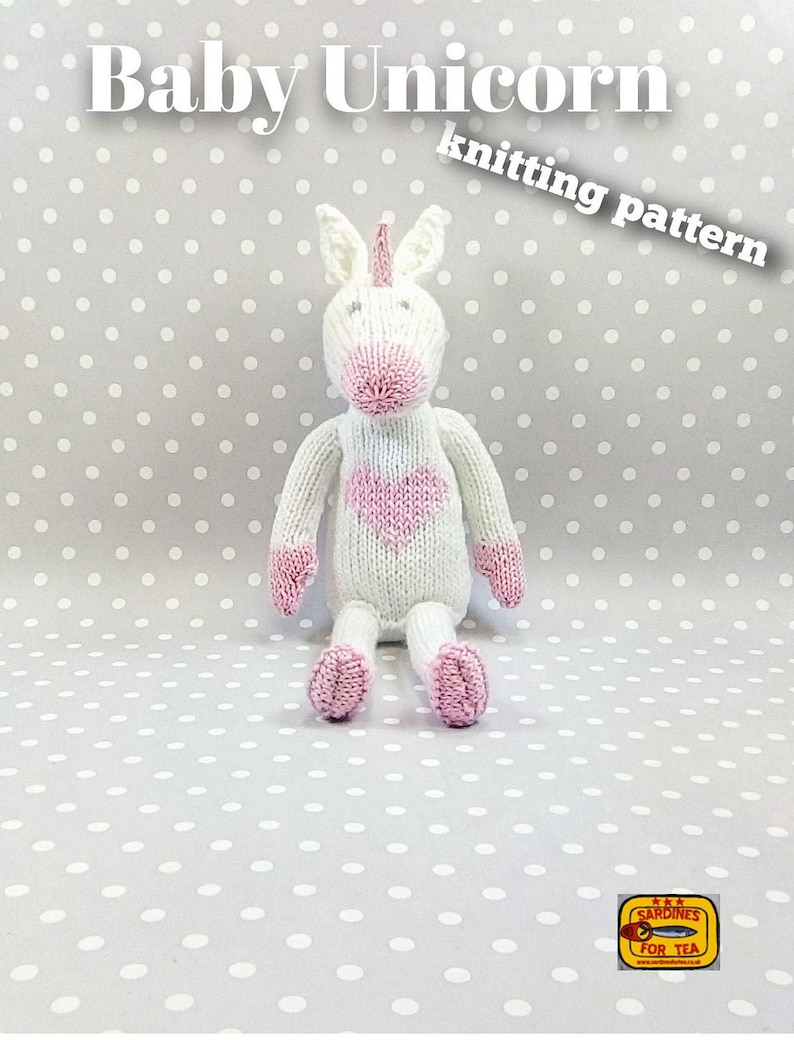 Knitted toy knitting pattern for Baby Unicorn PDF download image 0