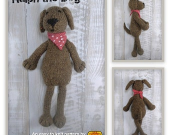 Knitted toy knitting pattern for Ralph the Dog, PDF download