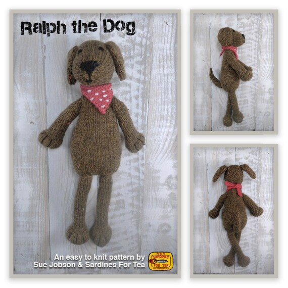 Knitted Toy Knitting Pattern For Ralph The Dog Pdf Download Etsy