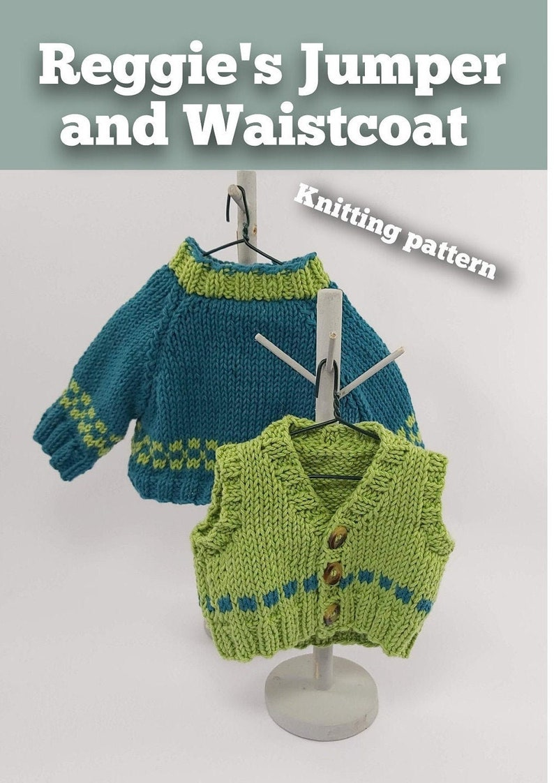 Knitting Pattern Download Reggie's Jumper and Waistcoat. image 0