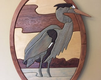 Intarsia Great Blue Heron