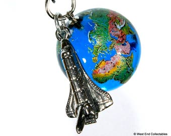 """Planet Earth & Space Shuttle Pendant Necklace - 22mm (0.9"""") Glass Marble Charm World Globe Orrery"""