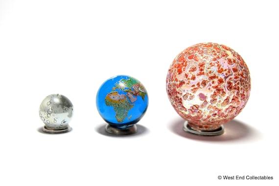 Solar Eclipse Glass Marble Set World Planet Planetarium Earth /& Moon Sun
