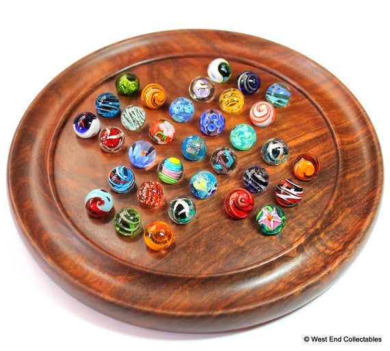 Brown Wood Art Store Wooden Games Solitaire Board with Glass Marbles UK