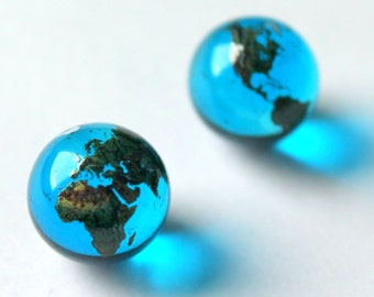 """Pair of 15mm (0.5"""") Blue Glass Earth Globe Marbles For Earring Jewellery Stone / Pendants"""
