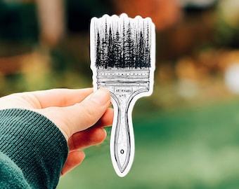 Forested Paintbrush Vinyl Sticker