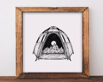 Mountainous Camping Tent Art Print