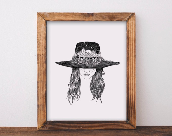 Mountainous Sun Hat Girl Fine Art Print