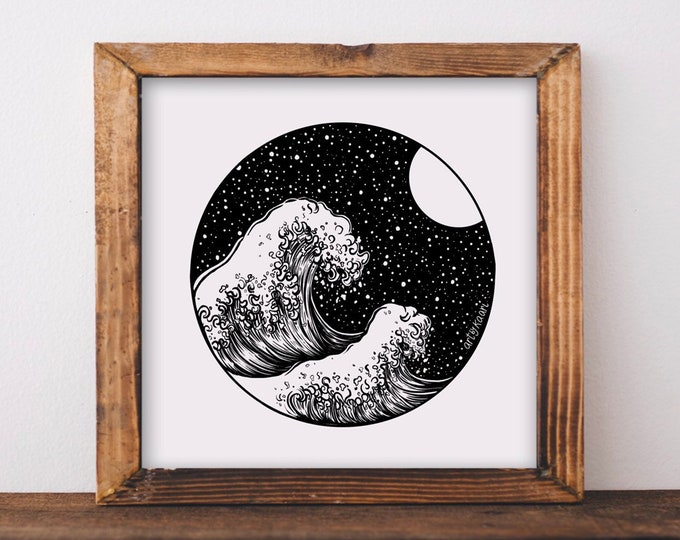 Waves + Night Sky Art Print