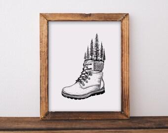 Hiking Boot Art Print
