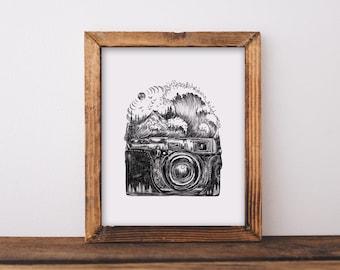 Camera + Waves Art Print