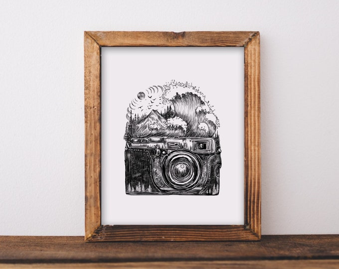 Camera + Waves Art Print