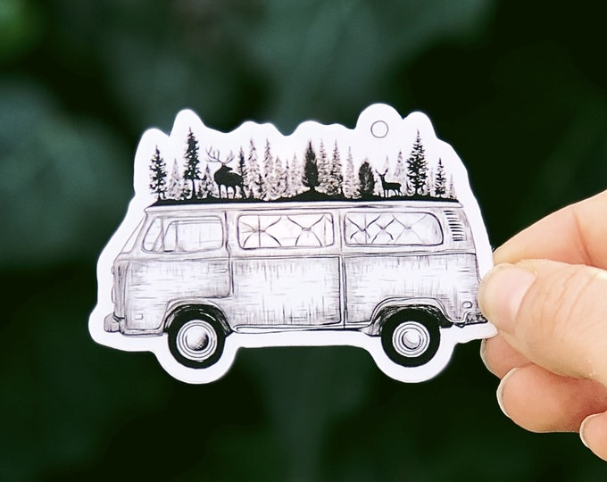 Forested Van Vinyl Sticker