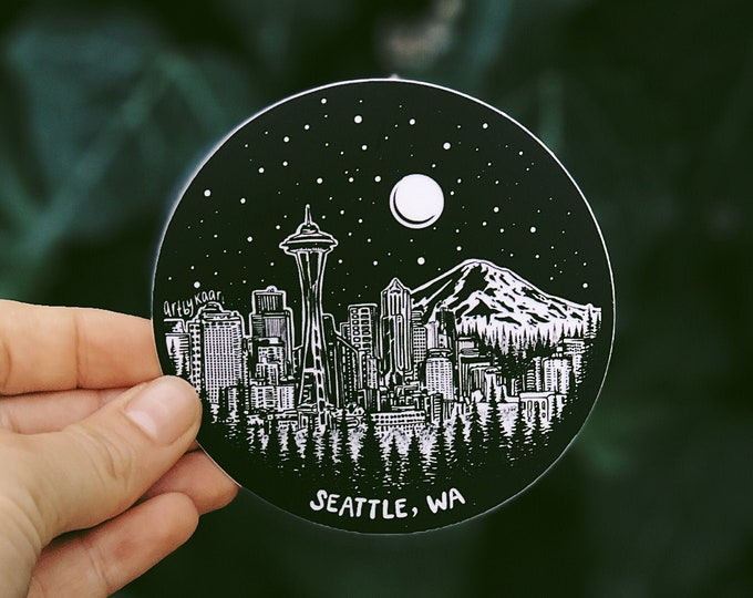 Seattle Skyline Circle Vinyl Sticker