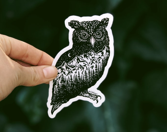 Mountainous Owl Vinyl Sticker