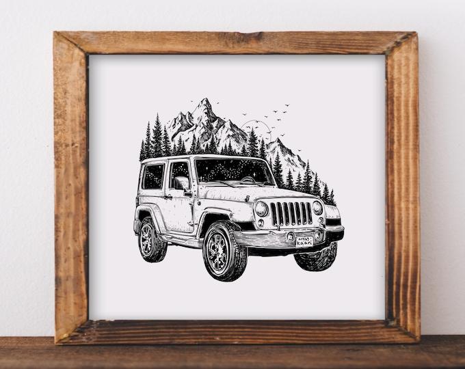 Mountainous Jeep Art Print