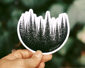 Treescape Circle Vinyl Sticker