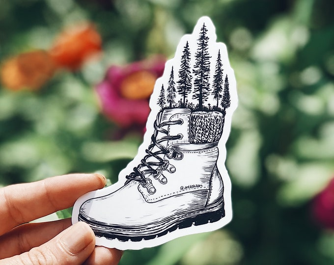 Forested Hiking Boot Vinyl Sticker