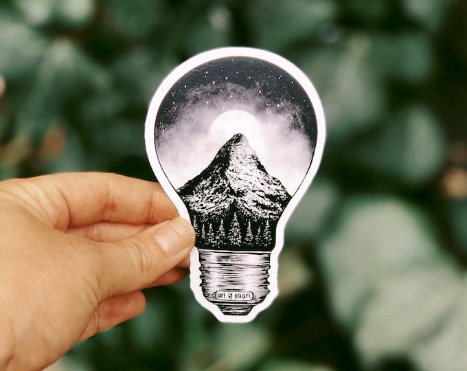 Mountain Lightbulb Vinyl Sticker