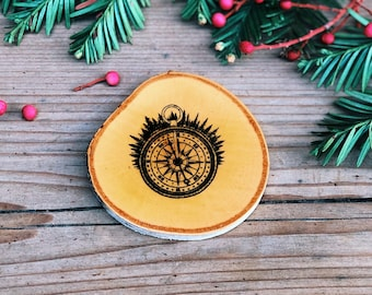 Forested Compass Individual Wood Coaster (Handmade, Individually-Stamped, Natural Birch Coaster)